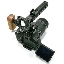 CAMVATE DSLR Camera Cage Top Handle Wood Grip for 600D 70D 8