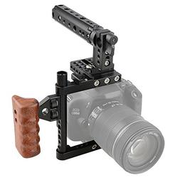 CAMVATE DSLR Camera Cage Top Handle Wood Grip for Canon Niko