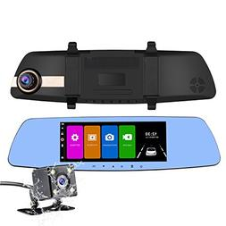NEXGADGET Dual Dash Cam, 7 Inch IPS Touch Screen Full HD 108