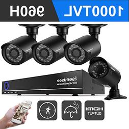 ISEEUSEE 960H 4 Channel Dvr Security Camera System with 960H