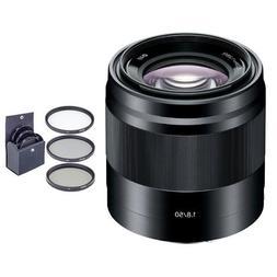 Sony 50mm F/1.8 OSS E-Mount NEX Camera Lens, Black - Bundle