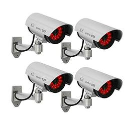 Masione 4 Pack Outdoor Fake / Dummy Security Camera with 30