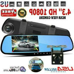 Full HD 1080P Dual Lens Car DVR Dash Cam Rearview Mirror Vid