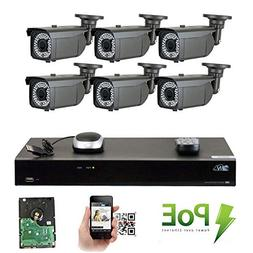 GW 8 Channel 1920P NVR Video Security Camera System - Six 5M