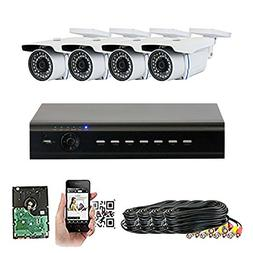 GW Security 4-Channel HD-TVI 1080P Complete Security System