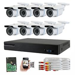 GW Security 8 Channel HD-TVI 1080P Complete Security System
