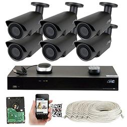 8 Channel H.265 4K NVR 5MP 1920p POE IP Camera System Wired,