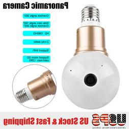 HD 1080P 360°Panoramic Hidden WiFi Camera IP Light Bulb Hom
