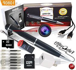 FabQuality 1080p HD Hidden Camera Spy Pen BUNDLE 16GB SD Mic