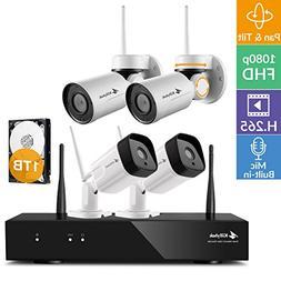 Kittyhok 1080p FHD WiFi Security Camera System Wireless, 8C