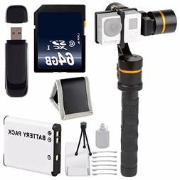 ikan 3-Axis Gimbal Stabilizer for GoPro + Extra Battery + 64