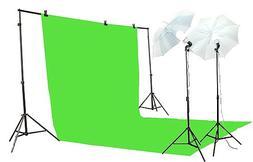 ePhoto K15-10x20G Chroma key Green Screen Lighting Kit with