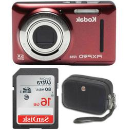 "Kodak FZ53 Point and Shoot Digital Camera with 2.7"" LCD, Red"