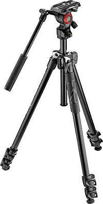 Manfrotto 290 Light Aluminum Tripod w/ Befree Live Fluid Vid
