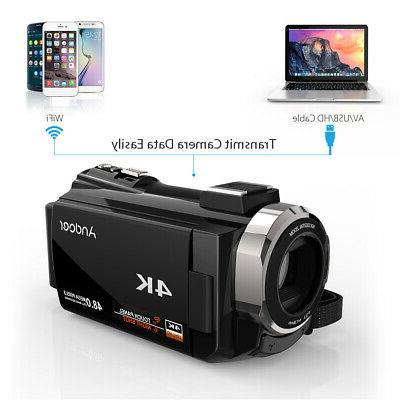 Andoer 4K 48MP WiFi Video Camcorder Recorder 0.39X -US
