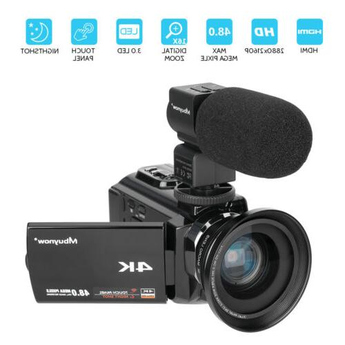 Professional Video Camera 4K Ultra HD 48MP Camcorder Wide Angle