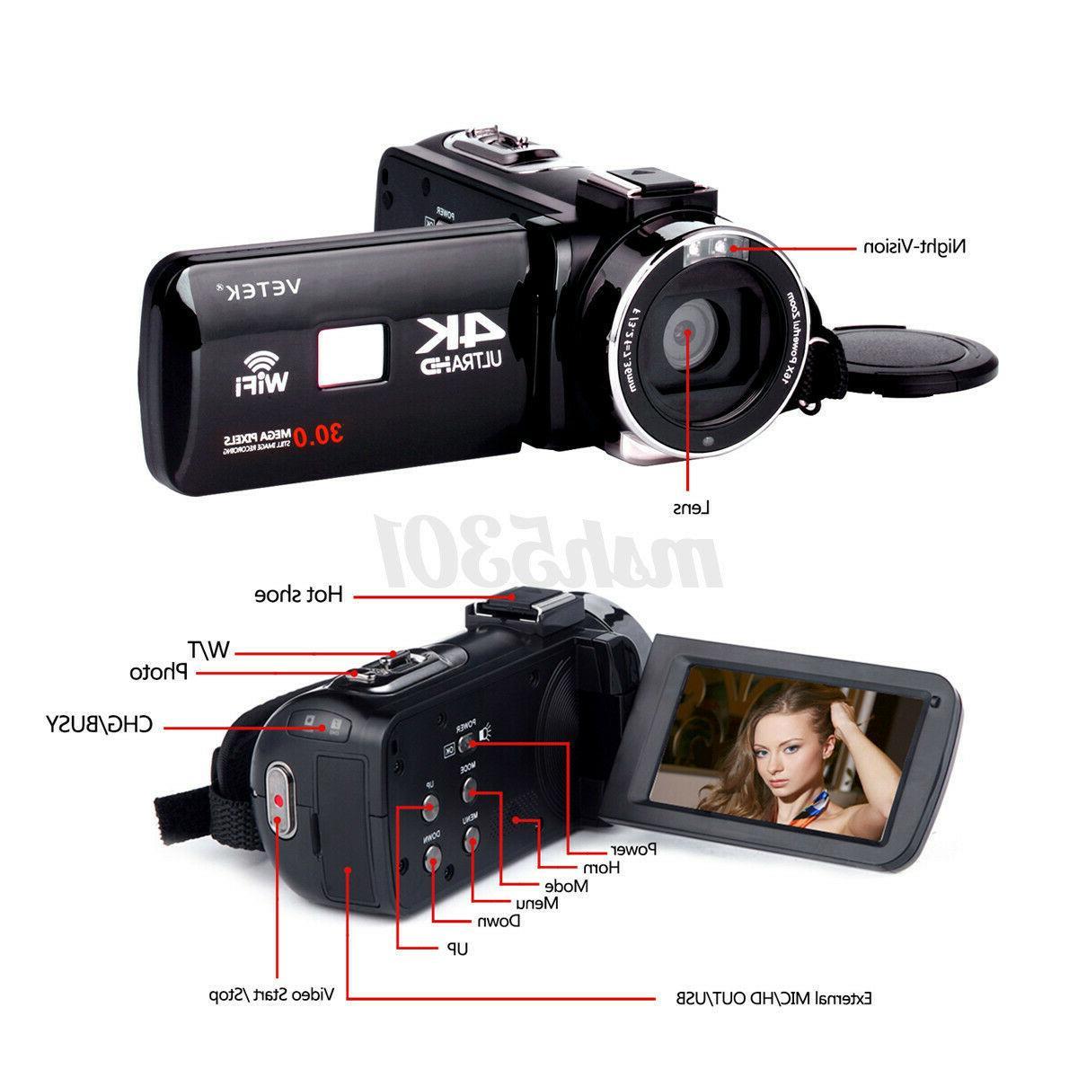 4K HD Video Camera Camcorder Lens