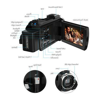 "Andoer 4K Ultra HD 48MP 3"" Digital Camcorder DV"