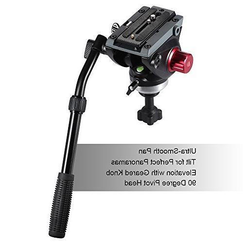 Andoer Professional fluid head tripod, Portable Camera Tripod, Duty Drag for Video camera