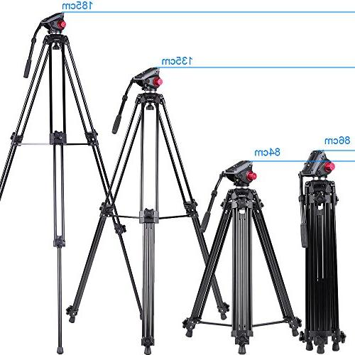 Andoer Professional head tripod, Tripod with Fluid Drag Pan for Camcorder