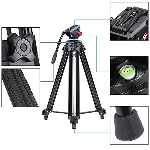 Andoer Professional tripod, Camera Tripod, Duty Tripod Drag Tilt Head for Camcorder Video