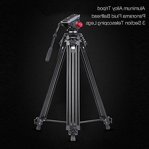 Andoer Professional fluid head tripod, Camera Tripod, Heavy Duty Tripod Drag Tilt for Camcorder camera