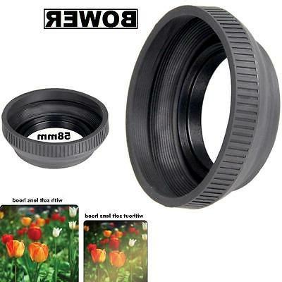 bower 58mm collapsible rubber lens hood fit