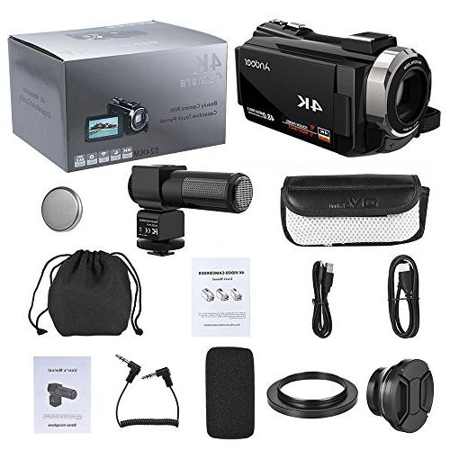 Video Camcorder, Andoer 4K Digital Video Camera 3inch Handy with IR Night Support Max Storage