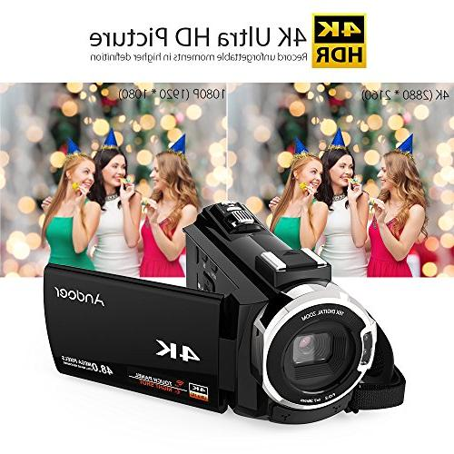 Video Camcorder, 4K Digital Video 48MP 2880 x with Support 16X Zoom Max Storage