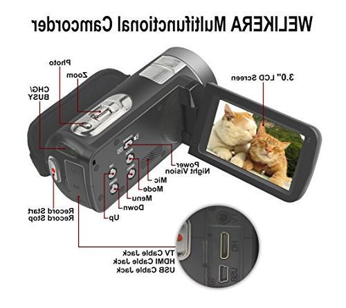 "WELIKERA Control Night Camcorder, HD 1080P 16X Zoom 3.0"" LCD Degree"