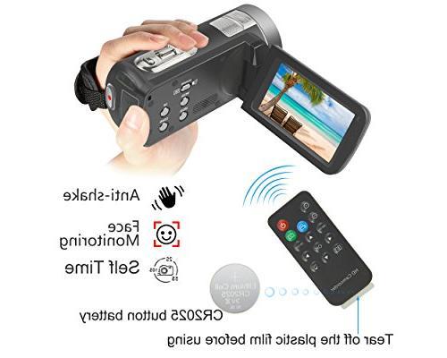 "WELIKERA Camcorder, Control Camera, Night Camcorder, HD 1080P 24MP Zoom Video Camcorder 3.0"" Degree Rotation Screen"