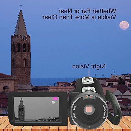 "WELIKERA Camera Camcorder, Control Camera, IR Night HD 1080P 16X Digital Zoom 3.0"" Degree Rotation"