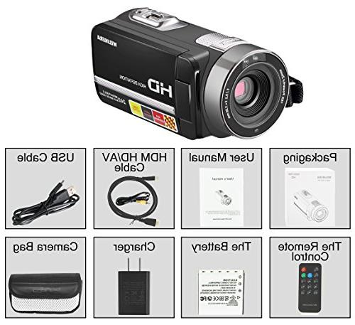 """WELIKERA Camcorder, Remote Control Camera, Night 1080P 16X Zoom Video Camcorder 3.0"""" LCD and Degree Rotation"""
