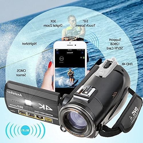 4K Ansteker 1080P 24MP 30FPS WiFi Night Vision Microphone and Wide Lens,Lens Hood