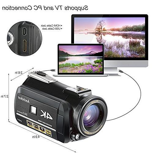 4K Camcorder, 1080P Digital WiFi Video Night Microphone and Lens,Lens Hood