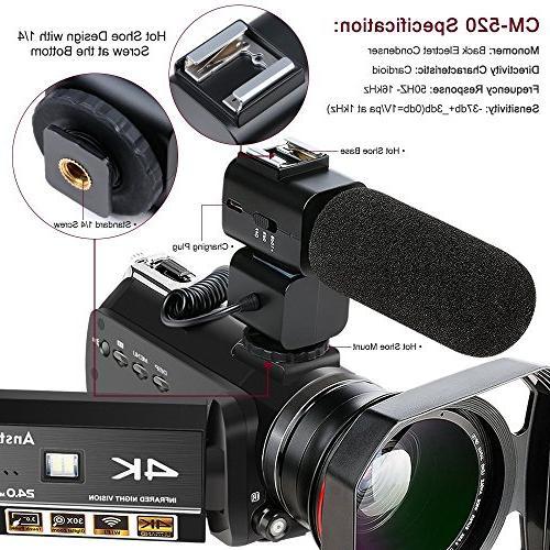 4K Ansteker 1080P 24MP WiFi IR Night Vision Microphone Lens,Lens Hood
