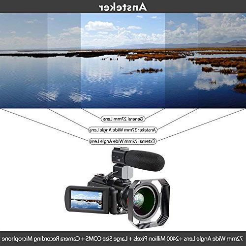 4K Camcorder, Ansteker 1080P 24MP 30FPS WiFi IR Night Vision Camcorder with Microphone Wide Angle Lens,Lens Hood