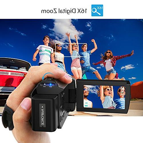 Video Camcorder, Andoer 4K Digital 2880 2160 HD 3inch Touchscreen Handy with Support Max