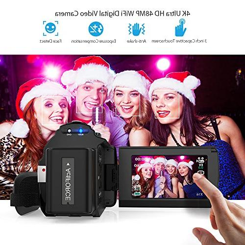 Video Camcorder, 4K Digital 2880 2160 3inch Handy Support 16X Zoom 128GB Max