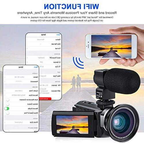 4K Camera for CofunKool 60FPS 48MP Ultra WiFi Digital External Microphone Wide LED Shoulder Bag