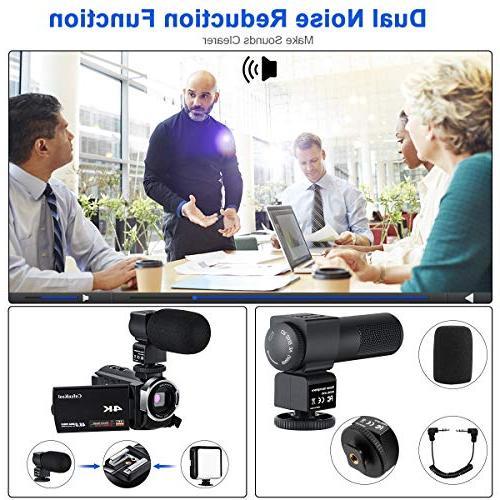 4K Camcorder Vlogging Camera for YouTube 60FPS Ultra WiFi Night Vision 16X Digital with Microphone LED Light and Shoulder