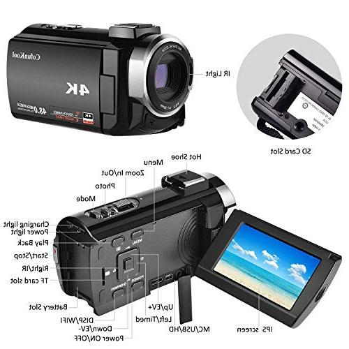 4K Camcorder Video Camera for CofunKool 60FPS Ultra WiFi Night Digital Zoom Microphone Wide Angle LED Video Light and Shoulder Bag