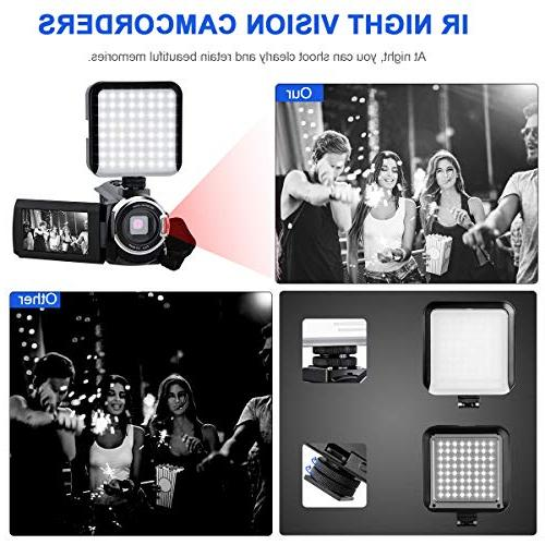 4K Camcorder Vlogging Camera for 60FPS 48MP Ultra WiFi Night Digital Zoom External Microphone Wide LED Video and Shoulder