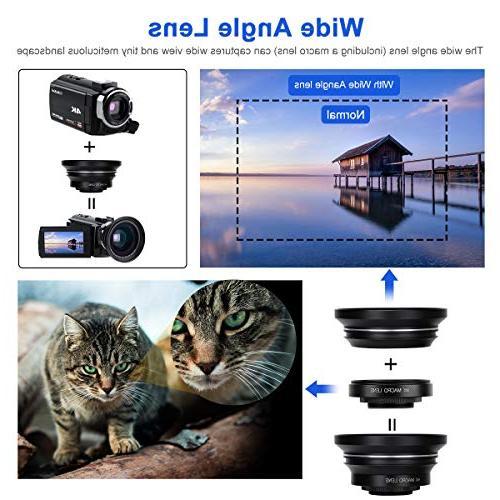 4K Camcorder Camera 60FPS Ultra WiFi Vision Digital External Microphone Wide Angle LED Video Light Shoulder