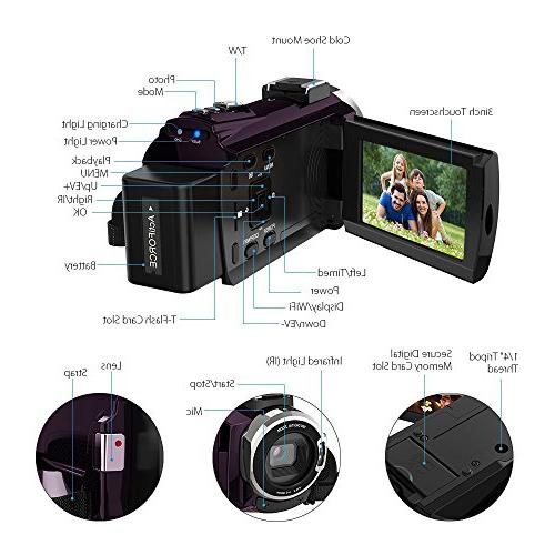 4K Video 48MP WiFi Camcorders Portable Digital Video Recorder 3 inch Touch Screen with and Wide Angle