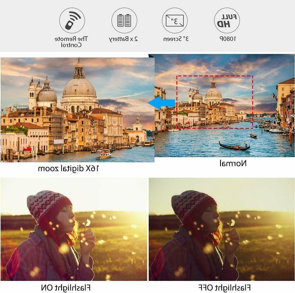 Camcorder Video Camera YouTube Vlogging Camera HD 1080P 30FPS 24MP 16...