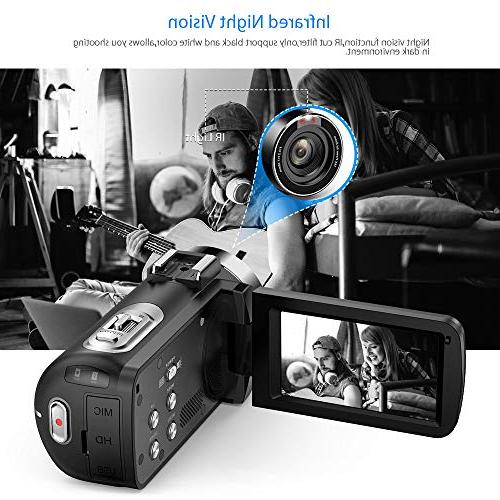 """Andoer Digital Video Camecorder FHD Video Camera Infrared Vision 3.0"""" Rotating LCD Digital Zoom Remote Control with"""