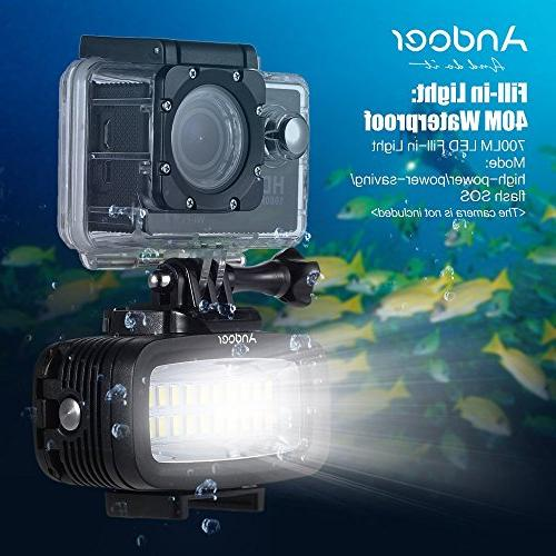 Andoer Video Fill-in LED Lighting Lamp Waterproof Built-in Battery with Diffuser for Xiaomi Sports Camera