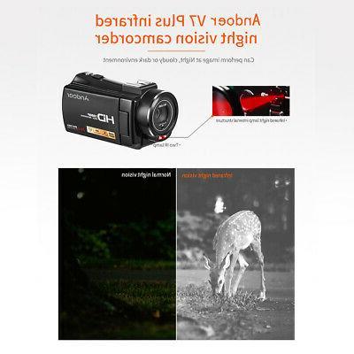 "#US Stock Andoer 1080P 3.0"" HD 24MP 16X Zoom Digital Video Camera"