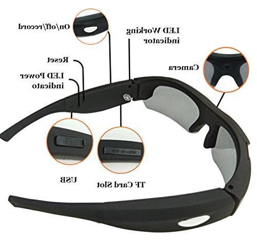 ZIMINGU 1080p Camera Video Recording Camera Eyewear for Sports Running Recording Card